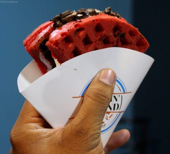 Red Velvet Oreo Waffle- Wafflin Around