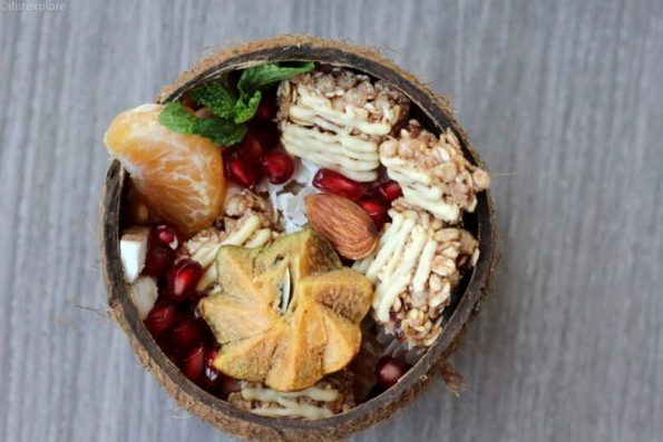 Cereal Bars and Fruits Coconut Bowl