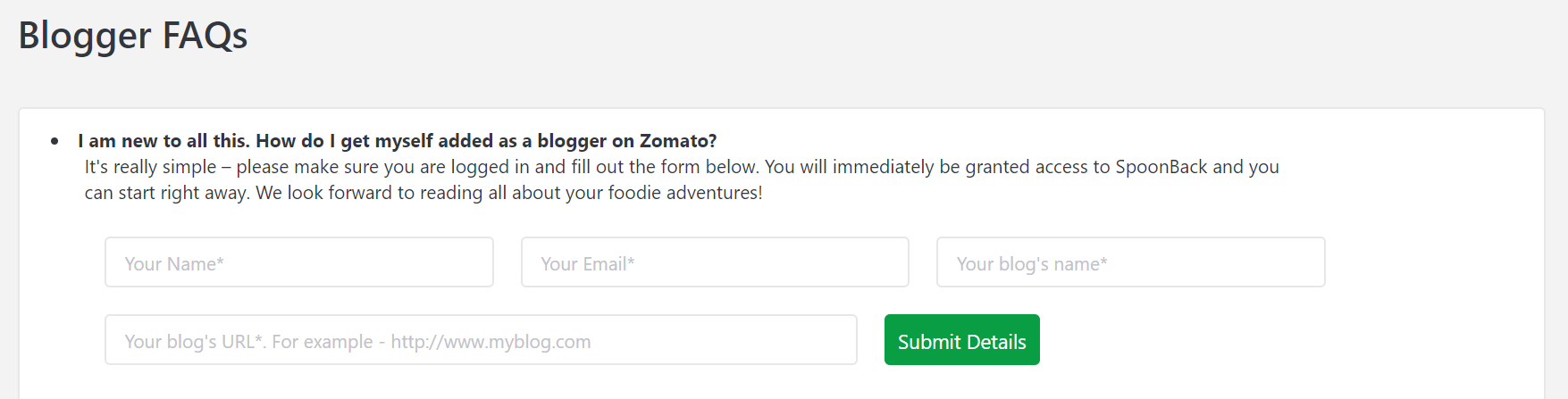 register as a blogger on zomato