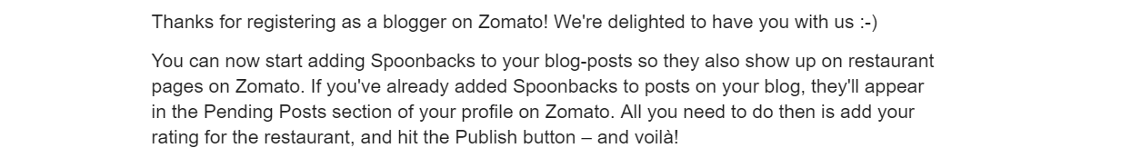 zomato email register as a blogger